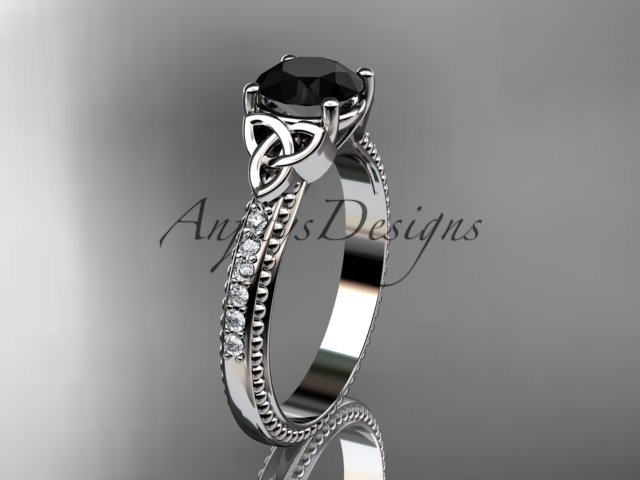 14kt white gold diamond celtic trinity knot engagement ring with a Black Diamond center stone CT7391
