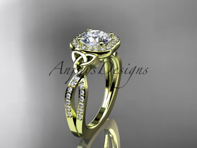 14kt yellow gold diamond celtic trinity knot wedding ring, engagement ring CT7393