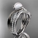 Platinum  diamond pearl engagement set AP78S