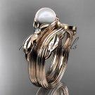 Unique 14kt rose gold diamond floral pearl engagement set AP324S