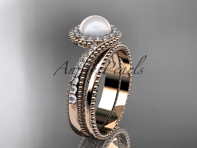 14kt rose gold diamond wedding ring, engagement set AP379S