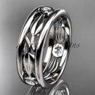Platinum diamond leaf wedding band, engagement ring ADLR401B