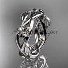 14kt white gold diamond leaf and flower wedding band, engagement ring ADLR402B