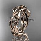 14kt rose gold diamond leaf and flower wedding band, engagement ring ADLR402B