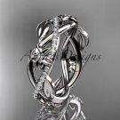 14kt white gold diamond leaf and flower wedding band, engagement ring ADLR403B