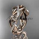 14kt rose gold diamond leaf and flower wedding band, engagement ring ADLR403B