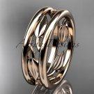 14kt rose gold leaf wedding band, engagement ring ADLR400G