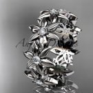 14kt white gold diamond band and vine wedding band, floral engagement band, wedding band ADLR339B