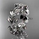 Platinum  leaf wedding ring, wedding band ADLR120G
