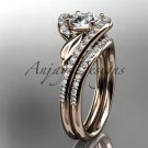 14k rose gold diamond leaf and vine engagement set with a Moissanite center stone ADLR317S
