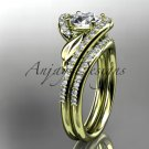 14k yelllow gold diamond leaf and vine engagement set with a Moissanite center stone ADLR317S