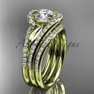 14k yellow diamond leaf wedding ring witha Moissanite center stone and double matching band ADLR317S