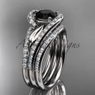 14k white diamond wedding ring with a Black Diamond Moissanite, double matching band ADLR317