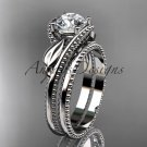 """Unique platinum  engagement set with a """"Forever One"""" Moissanite center stone ADLR322S"""