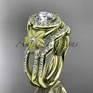 14kt yellow gold diamond floral wedding ring, engagement set ADLR127S