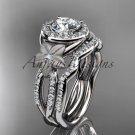 Platinum  diamond floral wedding ring, engagement set ADLR127S