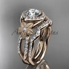"14kt rose gold diamond floral engagement set with a ""Forever One"" Moissanite center stone ADLR127S"