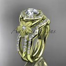"14kt yellow gold diamond floral engagement set with a ""Forever One"" Moissanite center stone ADLR127S"