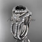 14kt white gold diamond floral engagement set with a Black Diamond center stone ADLR127S