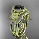 14kt yellow gold diamond floral engagement set with a Black Diamond center stone ADLR127S