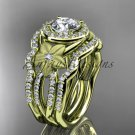 14kt yellow gold diamond floral wedding ring, engagement ring with a double matching band ADLR127S