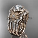 14kt rose gold diamond engagement ring.  Moissanite double matching band ADLR127S