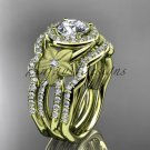 14kt tellow gold diamond engagement ring.  Moissanite double matching band ADLR127S