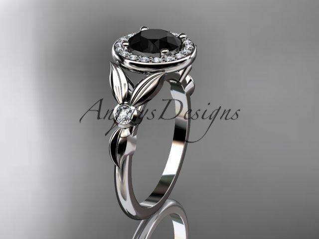 Platinum  diamond floral engagement ring with a Black Diamond center stone ADLR129