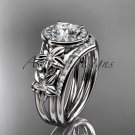 14kt white gold diamond floral wedding ring, engagement set ADLR131S