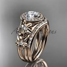 14kt rose gold diamond floral wedding ring, engagement set ADLR131S
