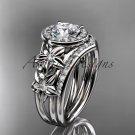 Platinum  diamond floral wedding ring, engagement set ADLR131S