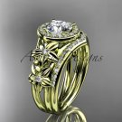 """14kt yellow gold diamond floral engagement set with a """"Forever One"""" Moissanite center stone ADLR131S"""