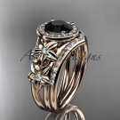 14kt rose gold diamond floral engagement set with a Black Diamond center stone ADLR131S