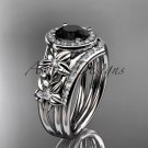 Platinum  diamond floral engagement set with a Black Diamond center stone ADLR131S