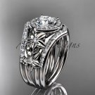 14kt white gold diamond engagement ring with a Moissanite center stone  ADLR131S