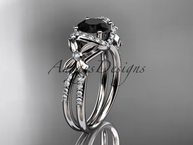 14kt white gold diamond floral engagement ring with a Black Diamond center stone ADLR140