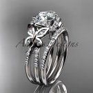 14kt white gold diamond butterfly wedding ring, engagement set ADLR141S