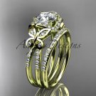 14kt yellow gold diamond butterfly wedding ring, engagement set ADLR141S