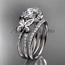 Platinum  diamond butterfly wedding ring, engagement set ADLR141S
