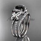 Platinum  diamond butterfly engagement set with a Black Diamond center stone ADLR141S