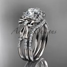 14kt white gold diamond unique engagement set, wedding ring, bow ring ADER155S
