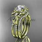 "14kt yellow gold diamond engagement set with a ""Forever One"" Moissanite center stone ADER155S"