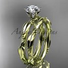 14k yellow gold diamond vine and leaf wedding ring, engagement set ADLR178S