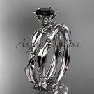 14k white gold diamond wedding ring, engagement set with a Black Diamond center stone ADLR178S