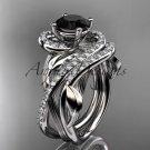 14kt whitw gold diamond engagement set with a Black Diamond center stone ADLR222
