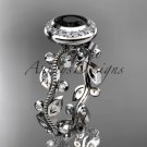 14k white gold diamond leaf and vine engagement ring with a Black Diamond center stone ADLR212