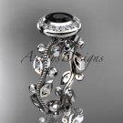 Platinum  diamond leaf and vine engagement ring with a Black Diamond center stone ADLR212