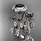 Platinum  diamond  engagement ring, engagement set with a Black Diamond center stone ADLR212S