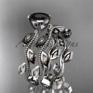 Platinum  diamond leaf and vine engagement set with a Black Diamond center stone ADLR213S