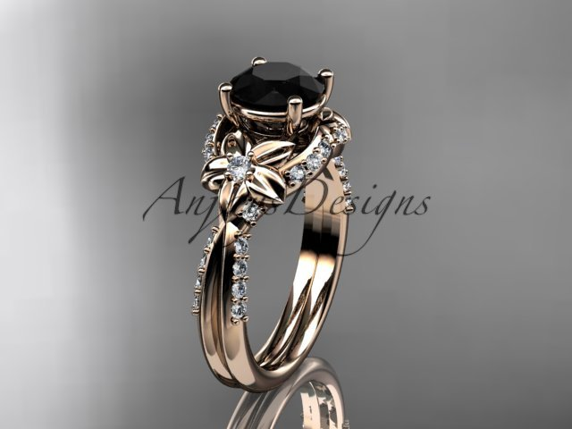 14kt rose gold diamond wedding ring, engagement ring with a Black Diamond center stone ADLR220